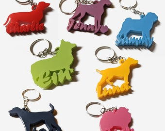 3D Dog Name Personalized Keychain - Multiple breeds and colors
