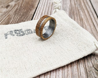 Reclaimed Whiskey Barrel Wood Ring with Steel Inlay