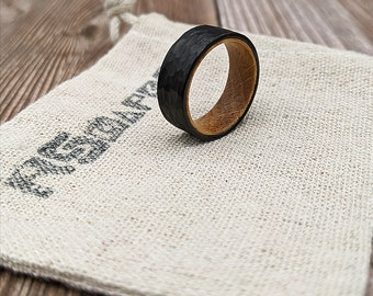 Tungsten Hammered Black Ring with Oak Inlay