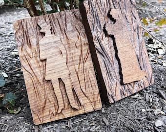 Wooden 3D Carved Gender Restrooms Sign