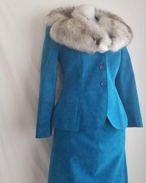 """1980s """"Blue Suede Shoes"""" Blue Suede Lilli Ann Suit"""