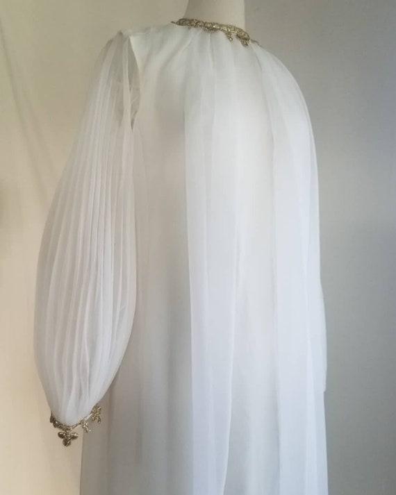 "1960s/70s ""Magic Harp"" Dreamy White Dress W/ Gold"