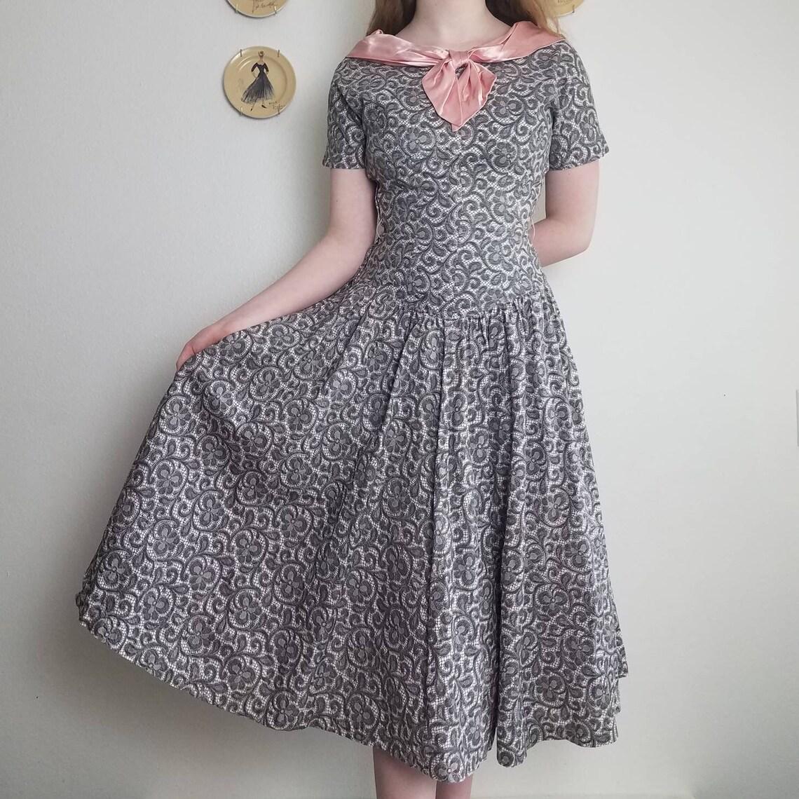 1950s Paisley Princess Dress Small