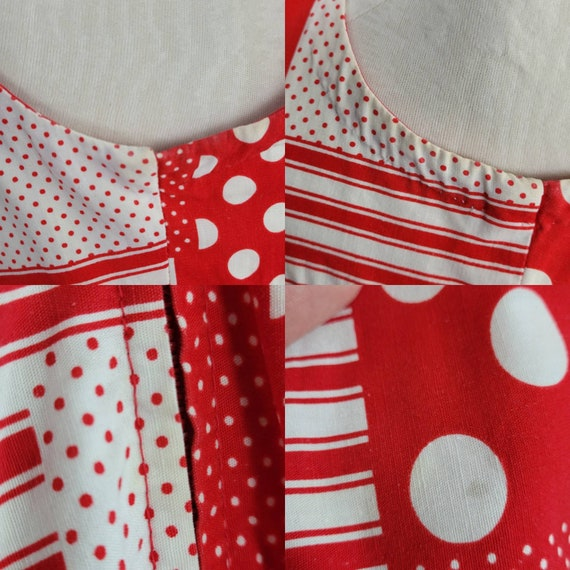 """1960s """"Pack The Basket"""" Red & White Patchwork Pri… - image 7"""