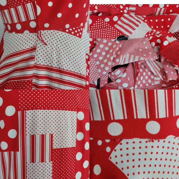 """1960s """"Pack The Basket"""" Red & White Patchwork Pri… - image 8"""