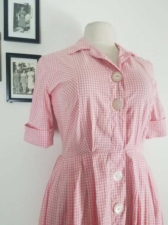 """1960s Style """"Strawberry Picnic"""" Pink Gingham Shirt"""