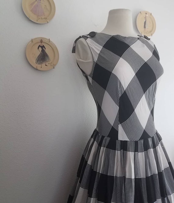"""1960s """"Late Night Picnic"""" Black and White Gingham"""