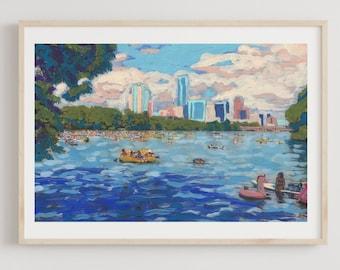 Austin Texas Skyline from Lady Bird Lake Photo Art Print Poster 18x12 inch