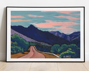 West Texas Print | Big Bend National Park Poster | Marfa Texas Painting | Abstract Mountain Landscape | Texas Gift