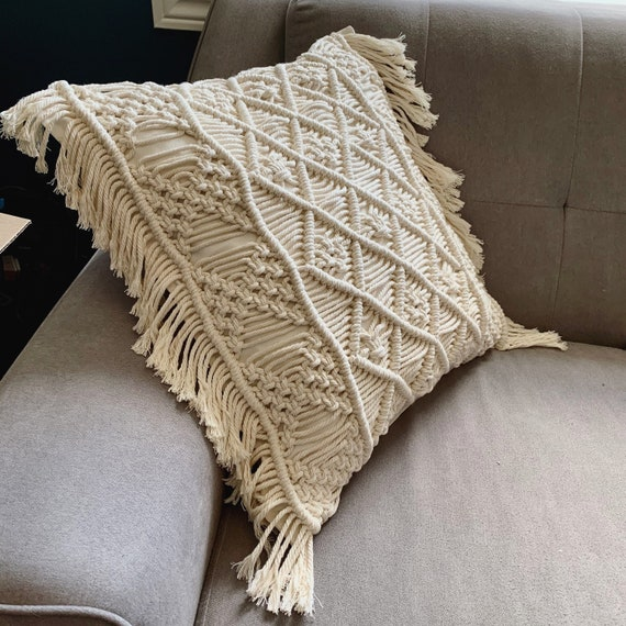 Boho Macrame Throw Pillow Cushion Etsy