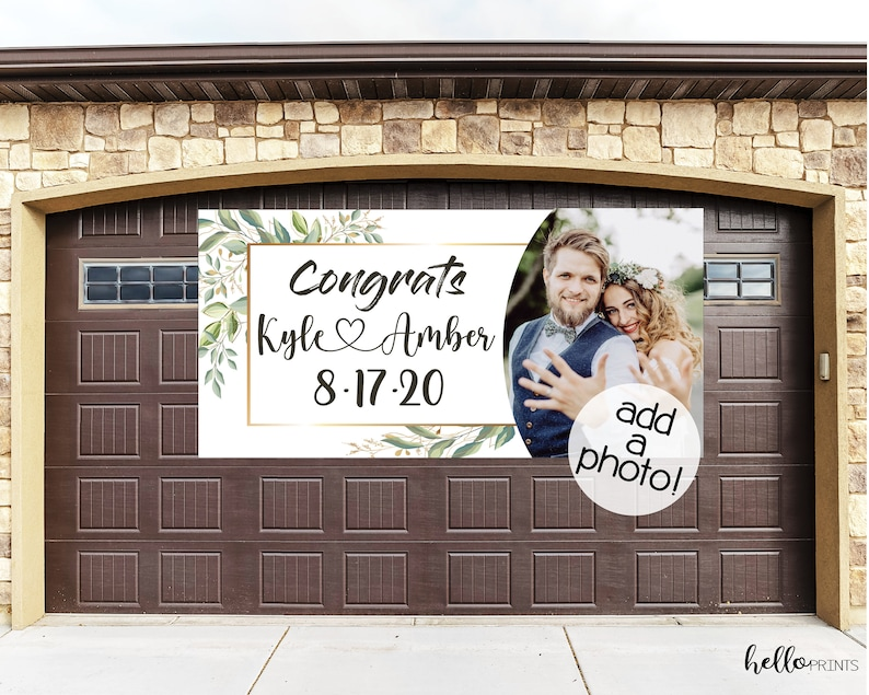 Wedding Banner Elegant Rustic Greenery Floral Personalized Sign Vinyl White Green Drive By Bridal Shower Parade