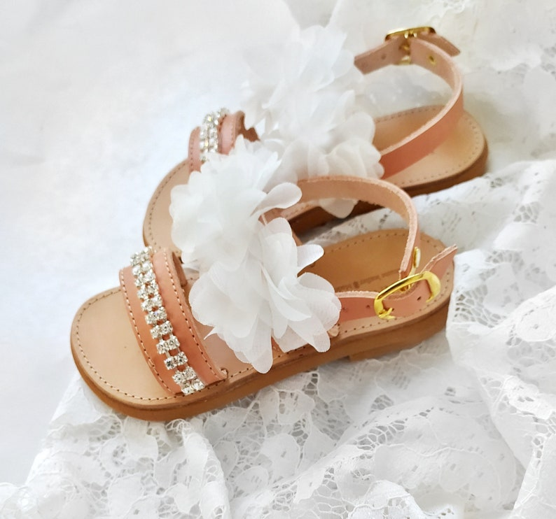 Maia  Flower girl sandals Maia  Childrens leather sandals  Lace and crystals sandals