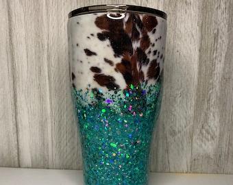 Custom Animal Print Glitter Tumbler Cowhide Glitter Tumbler
