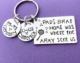 customized  personalized Military child keychain military brat and dandelion