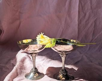 Vintage Silver Plated Vine Coupe Goblets set of 2