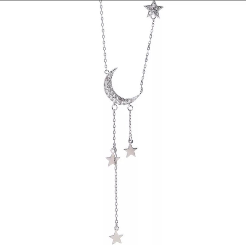 Charming magical silver star and moon necklace