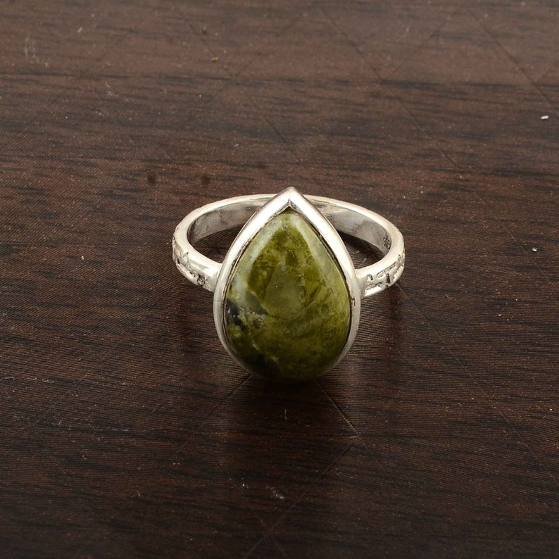 Jasper Silver Ring,Personalized Gift,Gemstone Ring,Sterling Silver Ring,Minimalist Ring,Green Stone Ring,Stacking Ring,Gift For Her