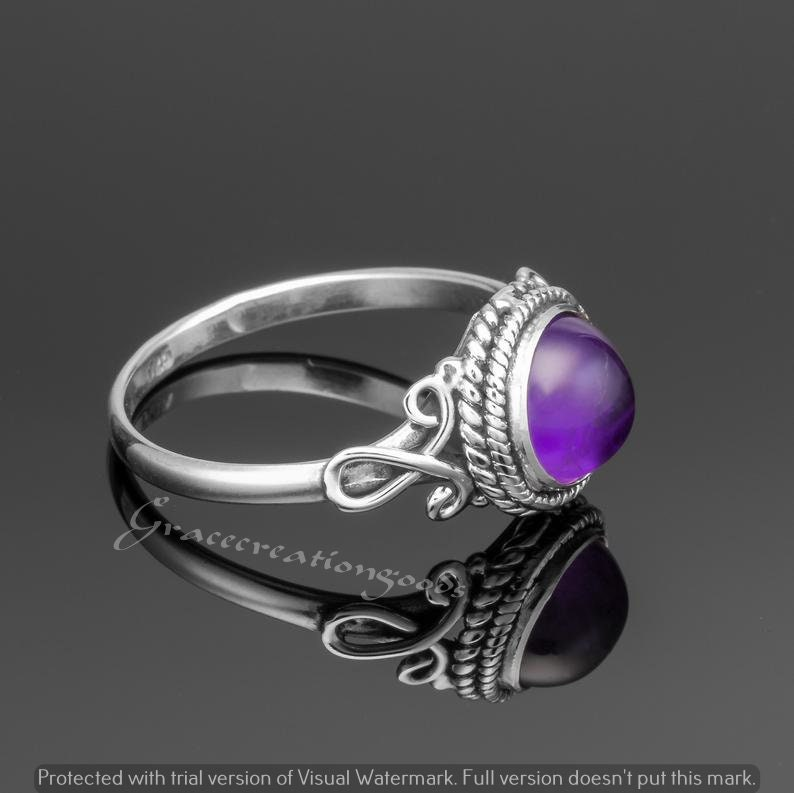 Amethyst Bohemian Ring,Personalized Ring,Round Amethyst Ring,Handcrafted Ring,Hippies Ring,Amethyst Jewelry,February Birthstone Ring
