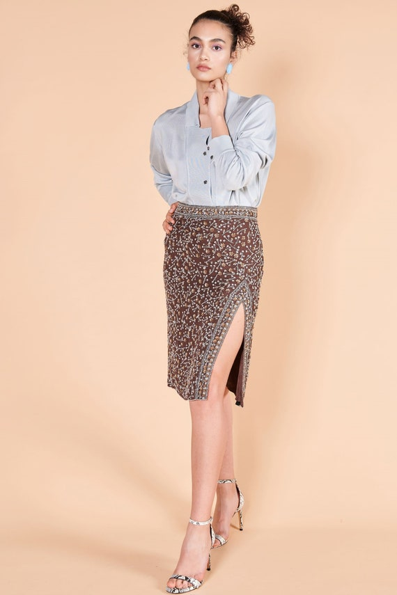 1990s Escada skirt, 1960s silk blouse