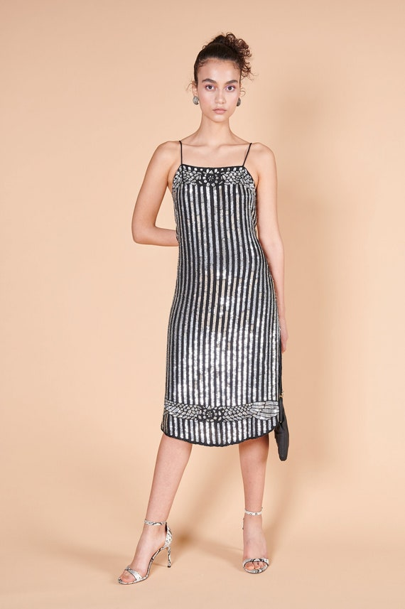 1930s art deco style sequined party dress