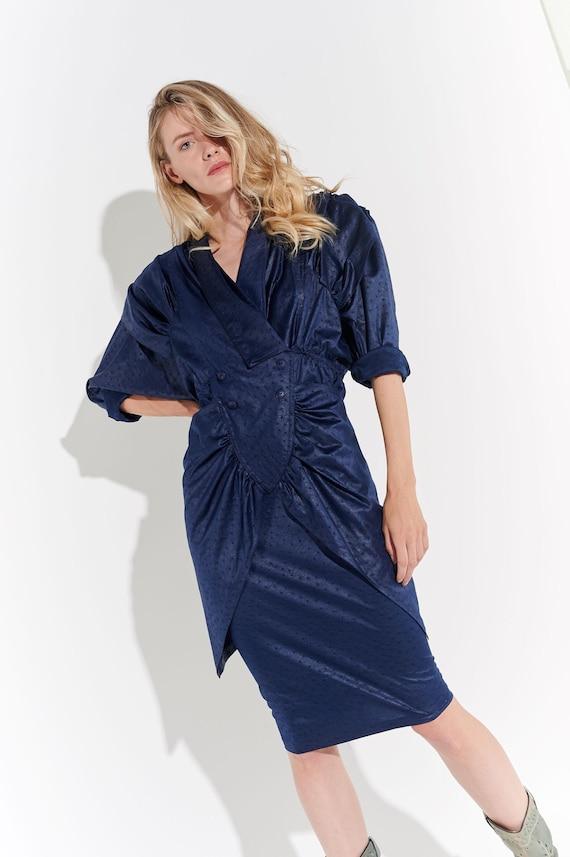 80's Avangart Navy Blue Dress