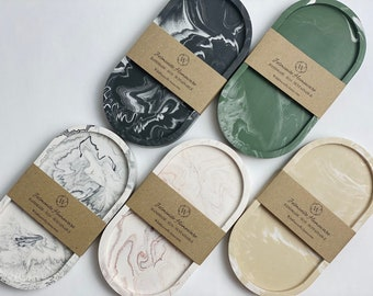 Jesmonite Tray - Classic Marble | Decorative Candle Dish | Jewellery - Trinket Tray