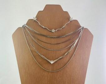 Lot Of Vintage Silver Tone Necklaces/Chains (6 PCS)