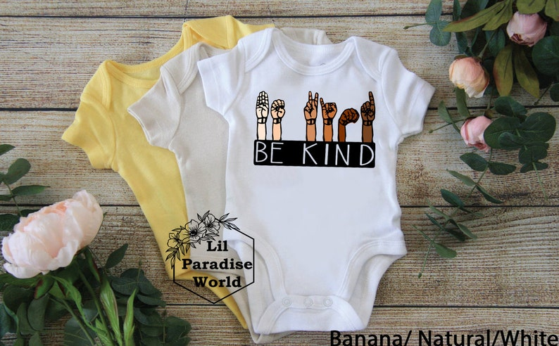 Be Kind Sign Language Baby Onepiece-Black Lives Matter-Sign Language-Bee Kind-Black History Month-Minimalist-Mommy And Me Outfit-Be Kind