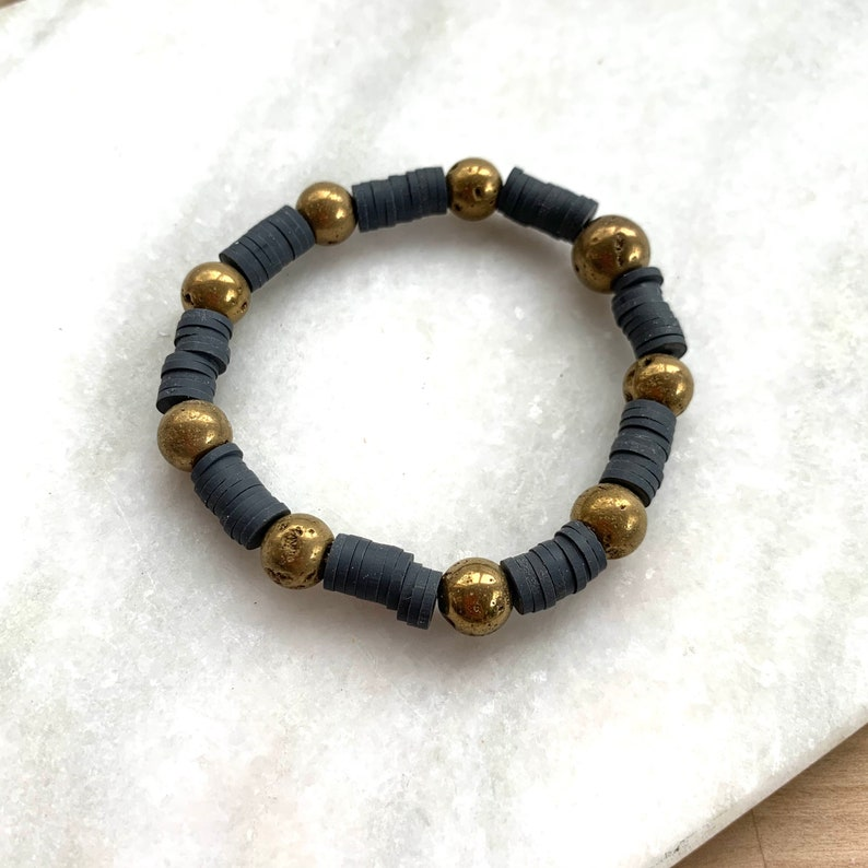 Charcoal Grey and Gold Beaded Bracelet