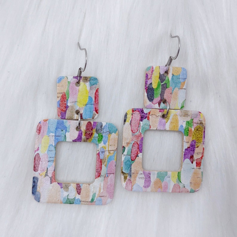 Confetti Cork Square Duo Real Leather Earrings Bright Multicolor Spring Summer Statement Earring Cordelia Styled