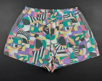 Vintage 1980s Fabric Shorts / Women's / Kitsch Memphis Style Fabric / Multicoloured / Sustainable / Reincarnated In London / Aah Kid