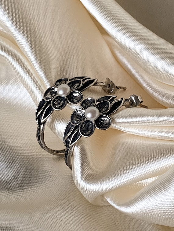Large Pearl Hoop Earrings / Vintage Floral Hoop Ea