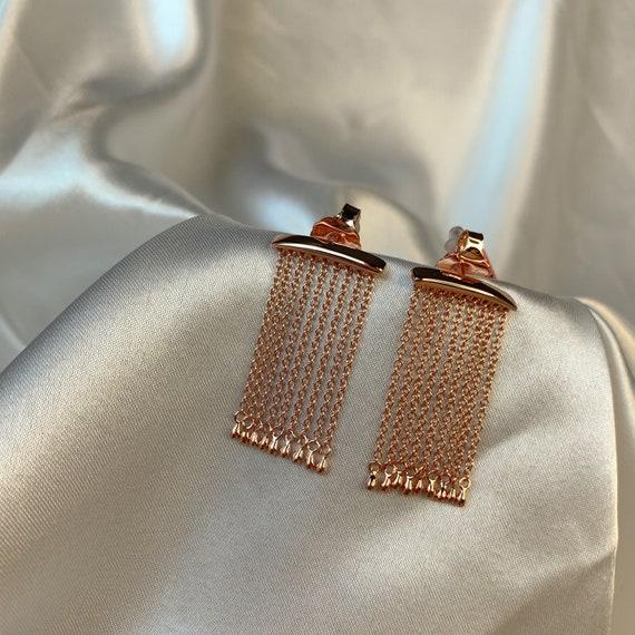 Vintage silver tassel earrings   925 silver fringe