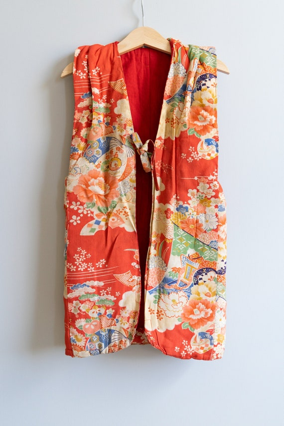 1940s Childs / Kids Padded Silk Kimono Jacket