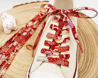 Pair of colorful laces in Japanese Chirimen Red fabric