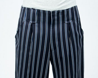 Blue Maru pants with white stripes tightened at the ankles casual inspired Japan AOI Clothing street wear