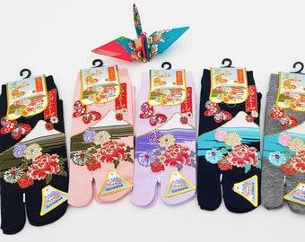 Japanese Tabi short cotton socks pattern Mont Fuji floral Fr 34 - 40, sock kutsushita geta accessory kimono