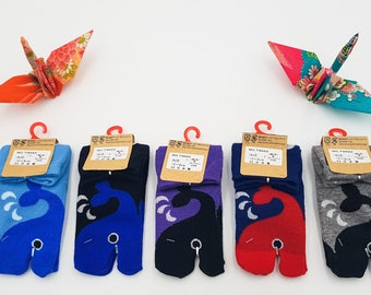 Japanese Socks Tabi Children in Cotton and Whale Pattern Size Fr 22 - 37