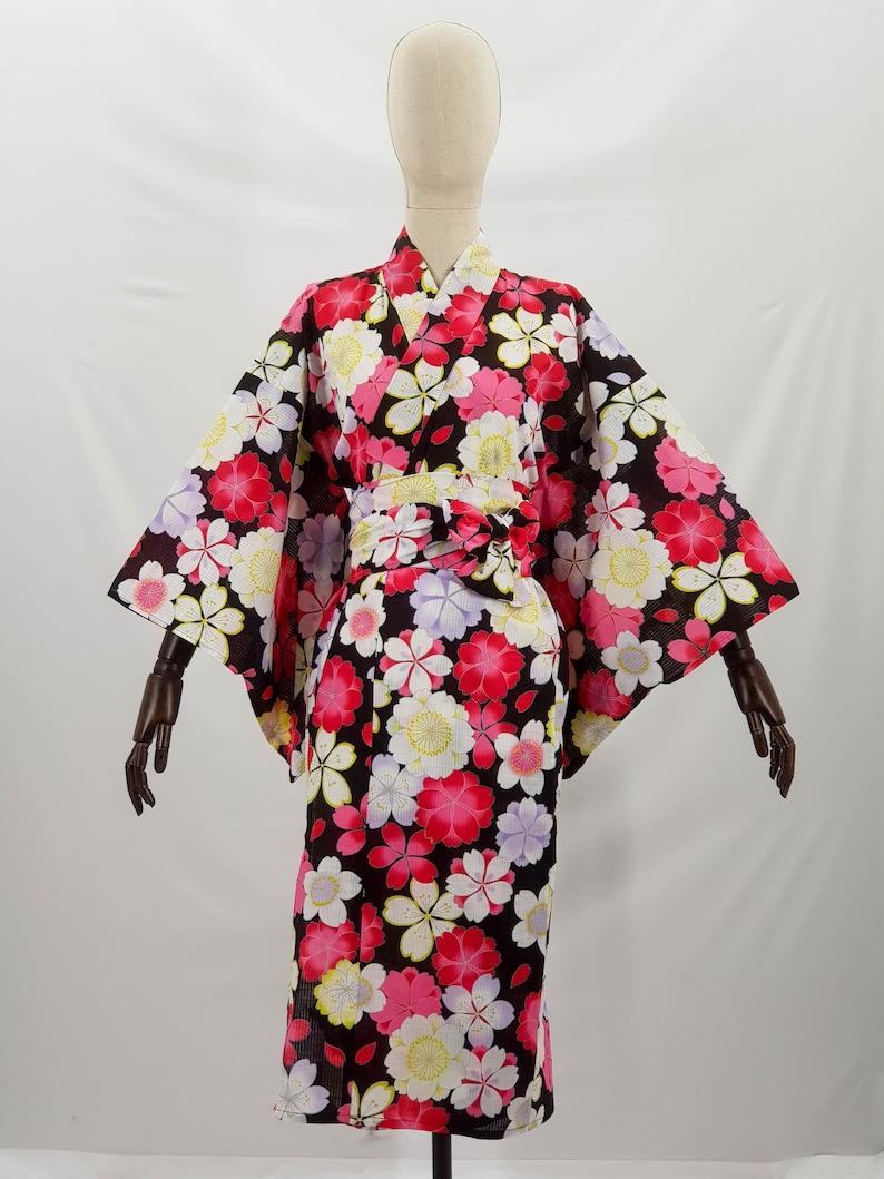 Pink flower bouquet pattern Japanese Yukata 100/% cotton shortened black summer kimono light summer dress