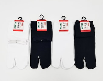 Japanese Tabi Cotton Socks and Black Uni Color - White Made in Japan Size Fr 34 - 40