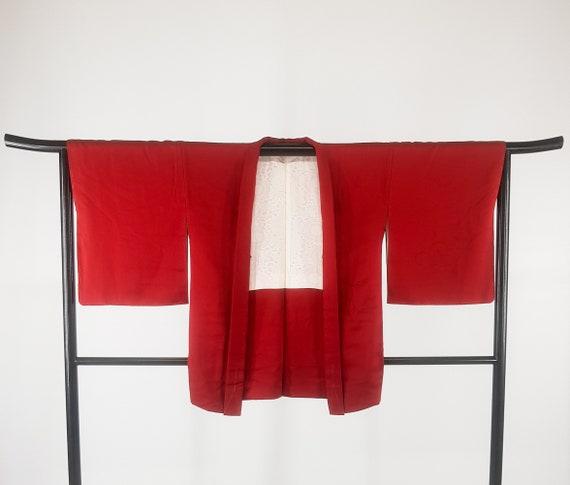 Veste Kimono Haori couleur femme motif rosace roug