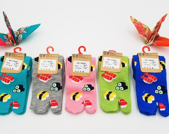 Japanese Socks Tabi Children's Cotton and Sushi Pattern Made In Japan Size Fr 22 - 37