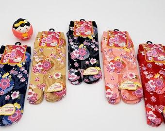 Japanese Tabi Socks in Cotton and Pattern Flowers Sakura Size Fr 34 - 40