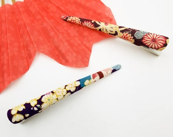 Chirimen Hair clips with Violet patterns