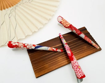Red-patterned Chirimen Japanese fabric hairpins