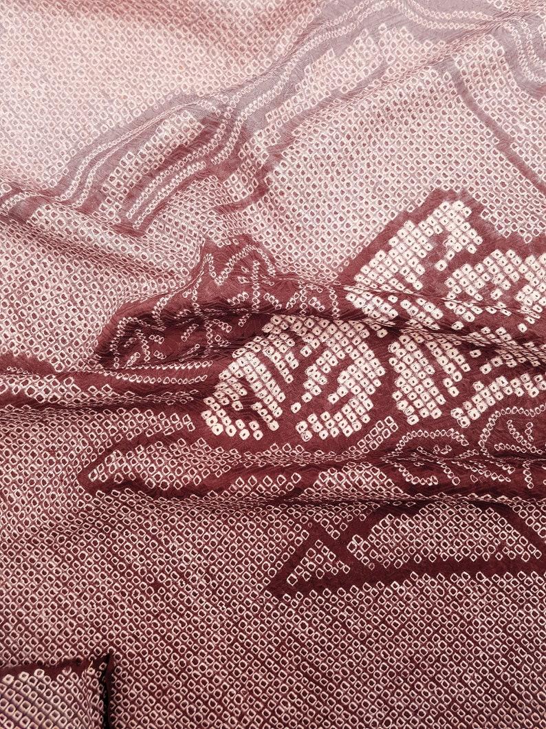 Coupon fabric silk shibori Japanese motif Landscape Bordeaux and Rose tie and dye silk kimono japanese fabric wine vintage remnant fabric
