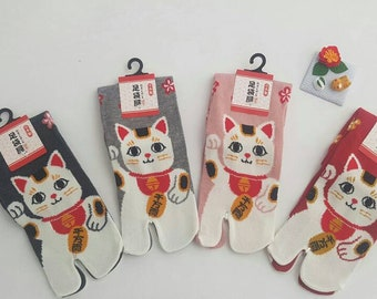 Japanese Tabi Cotton Socks and Maneki Neko Cat Pattern Made in Japan Size Fr 34 - 40