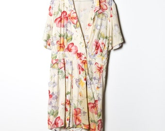 Womens Jumpsuit  XL Anna Herman cotton made in USA vtg print