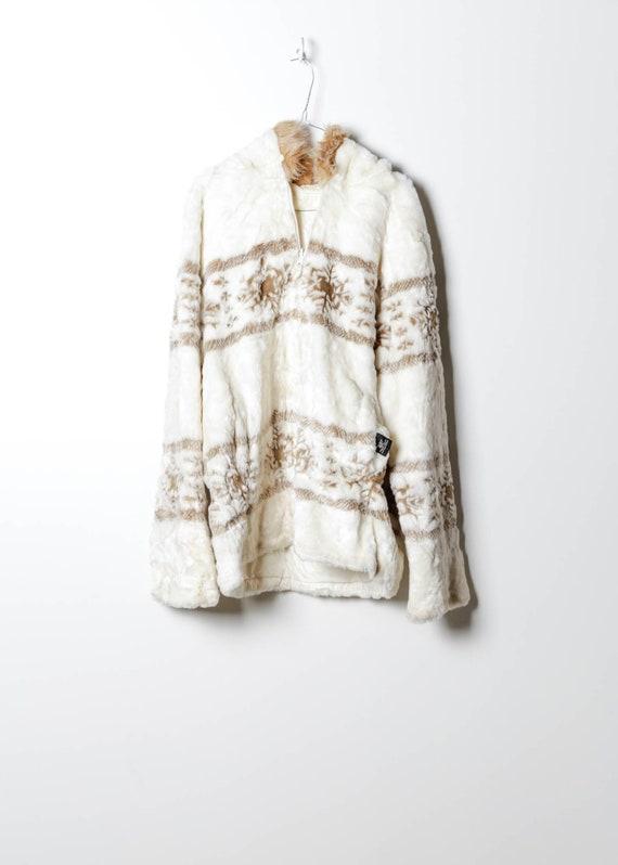 Vintage Women's Fake Fur Coat in White