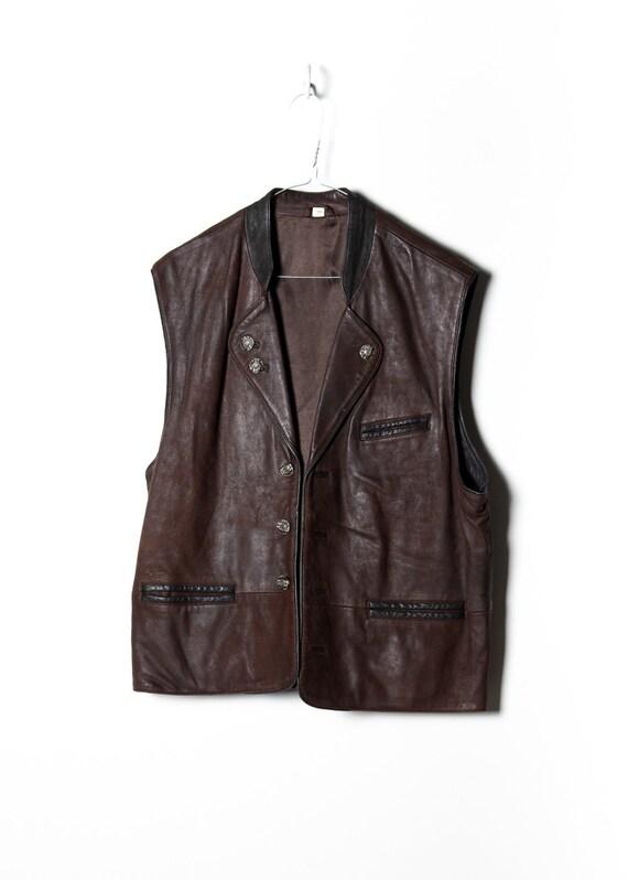 Vintage men's leather jacket in brown